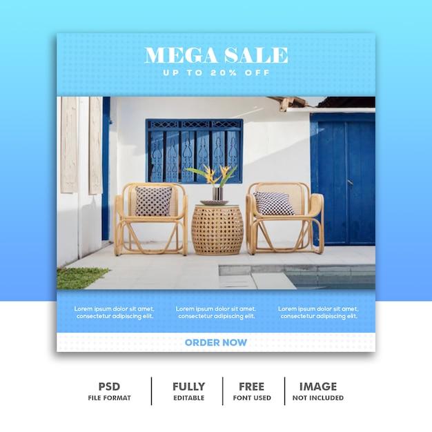 Modelo de banner de mídia social, móveis de luxo azul simples Psd Premium