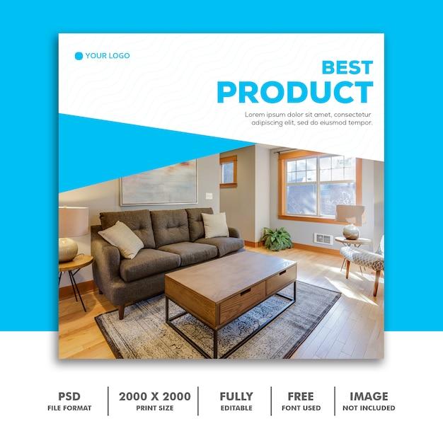 Modelo de banner de mídia social, móveis melhor azul elegante Psd Premium