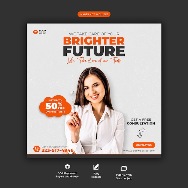 Modelo de banner de mídia social para dentista e atendimento odontológico Psd grátis