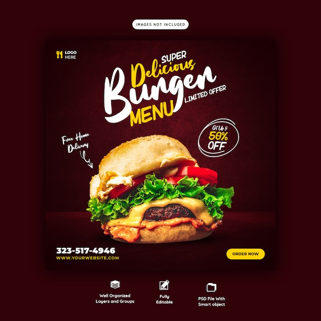 Modelo de banner de mídia social para hambúrguer delicioso e menu de comida Psd Premium
