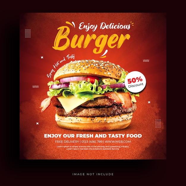 Modelo de banner de mídia social para menu de comida e hambúrguer de restaurante Psd Premium