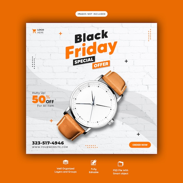 Modelo de banner de mídia social para oferta especial de black friday Psd grátis