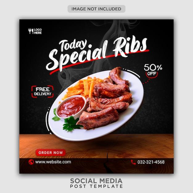 Modelo de banner de mídia social para promoção de cardápio de costelas Psd Premium