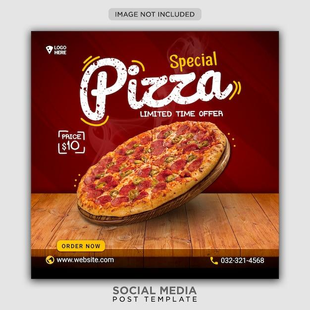 Modelo de banner de mídia social para promoção de cardápio de pizza Psd Premium