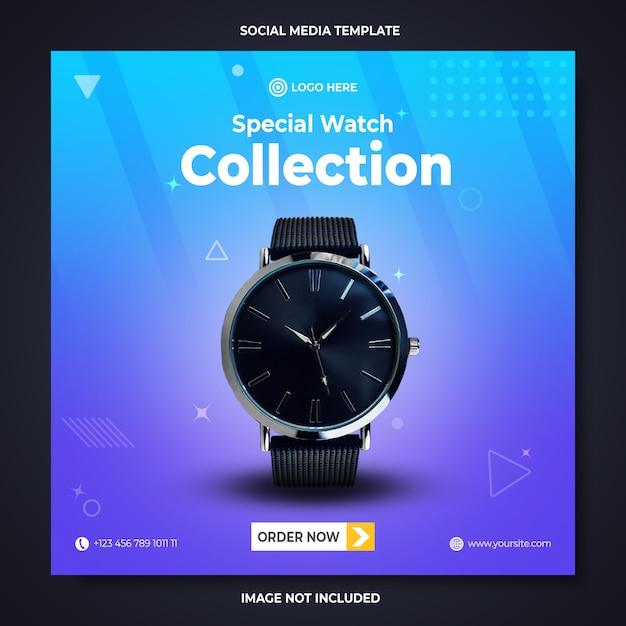 Modelo de banner de mídia social para promoção de coleção de relógios especiais Psd Premium