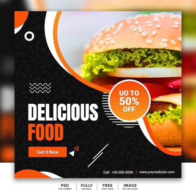 Modelo de banner de mídia social para venda de comida de restaurante Psd Premium