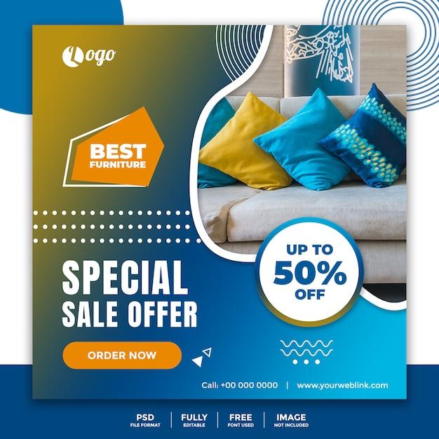 Modelo de banner de mídia social para venda de móveis Psd Premium