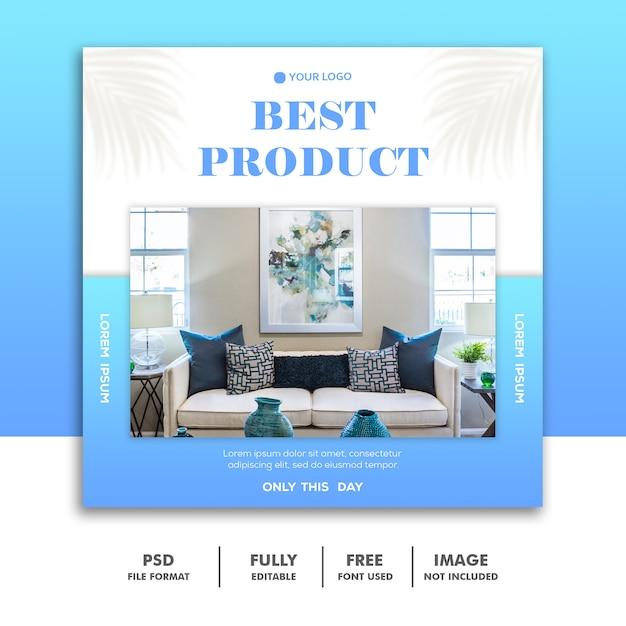 Modelo de banner de mídia social, produto de móveis azul Psd Premium