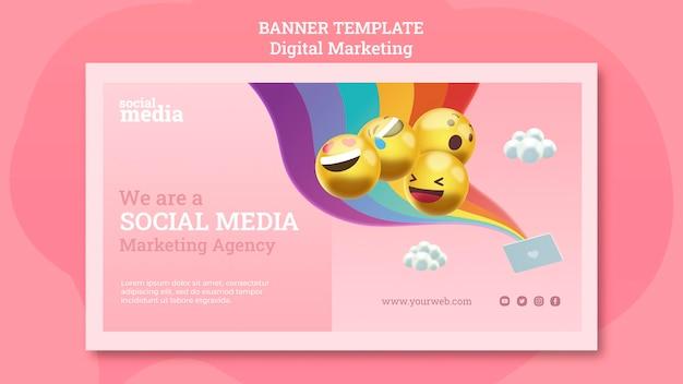 Modelo de banner de mídia social Psd grátis