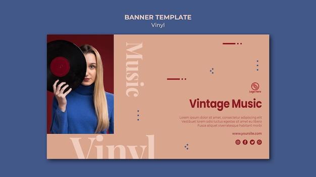 Modelo de banner de música vintage de vinil Psd grátis