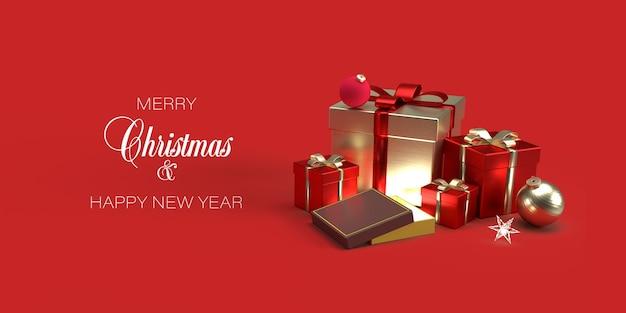 Modelo de banner de natal com presentes, brinquedos de natal em fundo vermelho Psd Premium