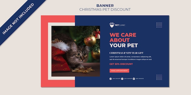 Modelo de banner de natal para desconto em animal de estimação de clínica Psd Premium
