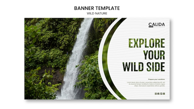 Modelo de banner de natureza selvagem com foto Psd grátis