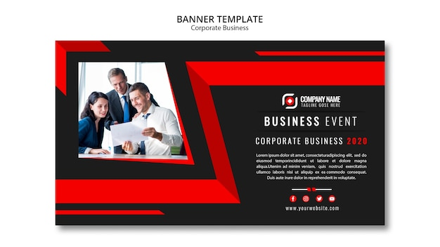 Modelo de banner de negócios abstratos Psd grátis