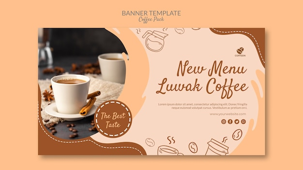 Modelo de banner de pacote de café de canecas de café Psd grátis