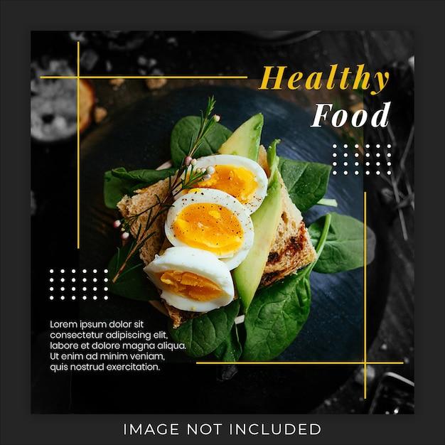 Modelo de banner de postagem de instagram de mídia social de promoção de menu de comida saudável Psd Premium