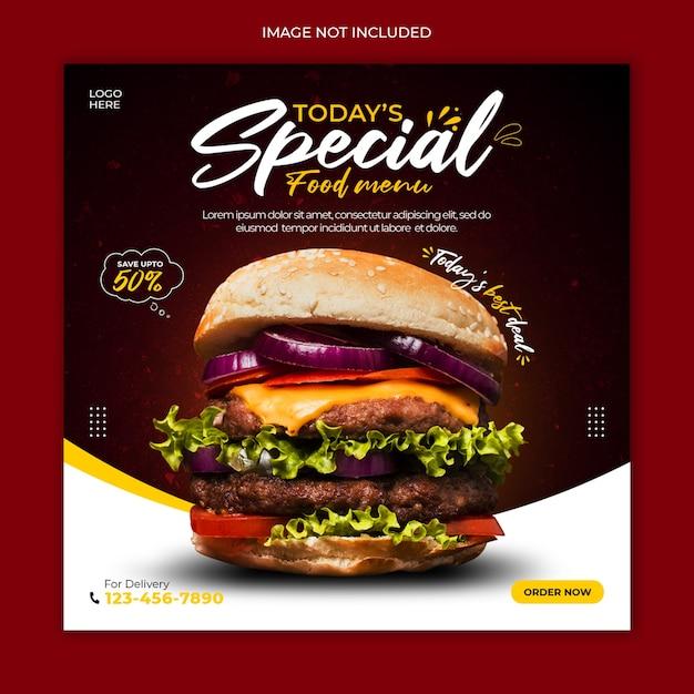 Modelo de banner de postagem de mídia social de cardápio delicioso Psd Premium