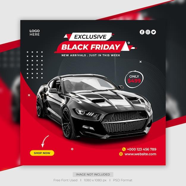 Modelo de banner de postagem de mídia social de venda de carro na sexta-feira negra Psd Premium