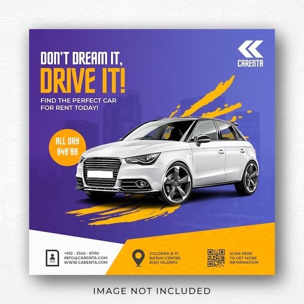 Modelo de banner de postagem do instagram para promoção de aluguel de automóveis Psd Premium