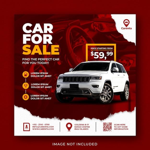 Modelo de banner de postagem do instagram para promoção de venda de carros Psd Premium