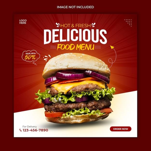 Modelo de banner de promoção de mídia social de alimentos Psd Premium