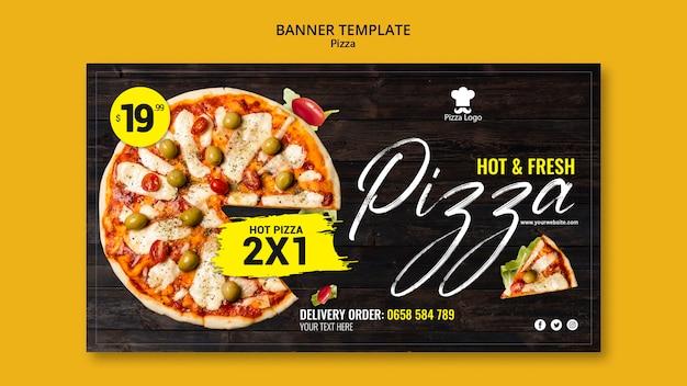Modelo de banner de restaurante de pizza Psd grátis