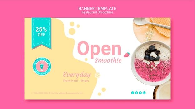 Modelo de banner de restaurante de smoothie Psd grátis