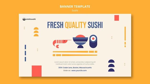 Modelo de banner de restaurante de sushi Psd grátis