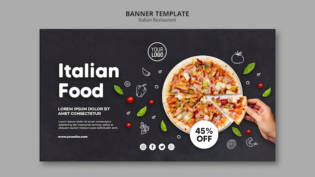 Modelo de banner de restaurante italiano Psd grátis