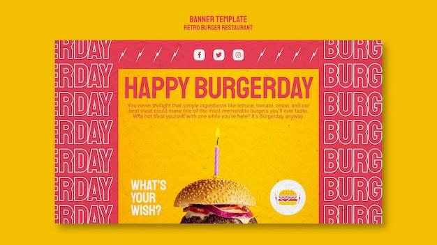 Modelo de banner de restaurante retrô hambúrguer Psd grátis