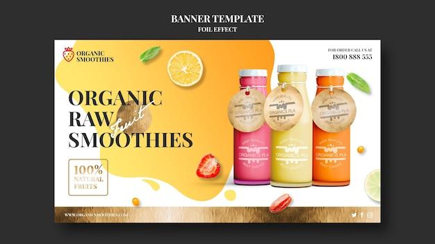 Modelo de banner de smoothies orgânicos Psd grátis