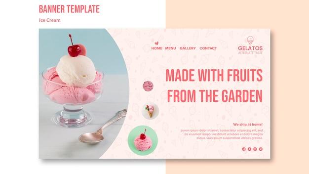 Modelo de banner de sorvete delicioso Psd grátis