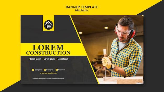 Modelo de banner de trabalhador manual trabalhador carpinteiro Psd grátis