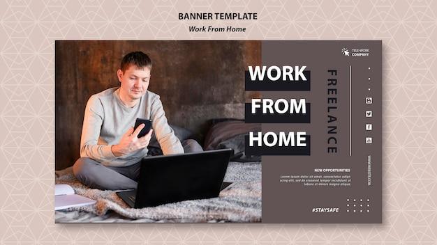 Modelo de banner de trabalho em casa Psd grátis