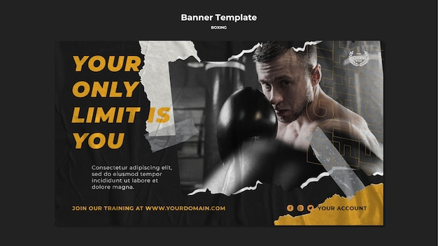 Modelo de banner de treino de boxe Psd grátis