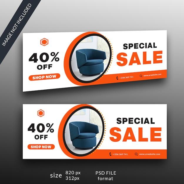 Modelo de banner de venda de móveis Psd Premium