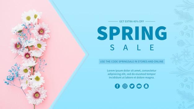 Modelo de banner de venda de primavera Psd grátis