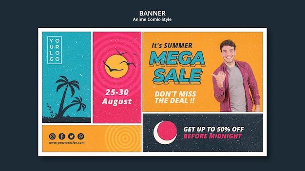 Modelo de banner de venda de verão Psd grátis