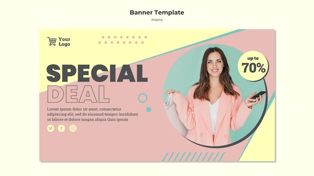 Modelo de banner de venda especial de compras Psd grátis