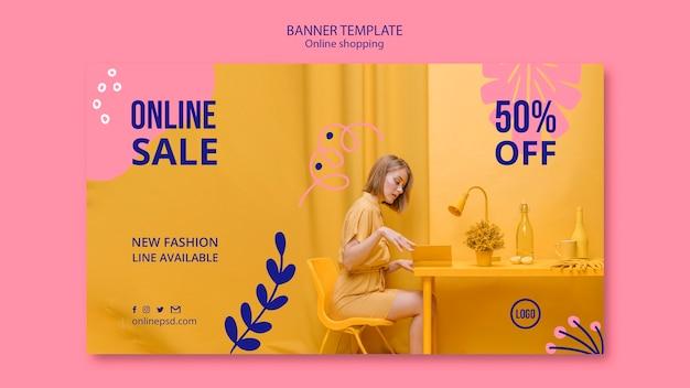 Modelo de banner de venda on-line Psd grátis