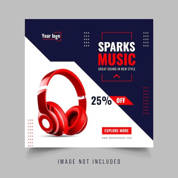 Modelo de banner de vendas de mídia social de fone de ouvido Psd Premium