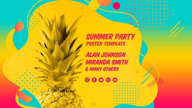 Modelo de banner de web festa de verão colorido Psd grátis