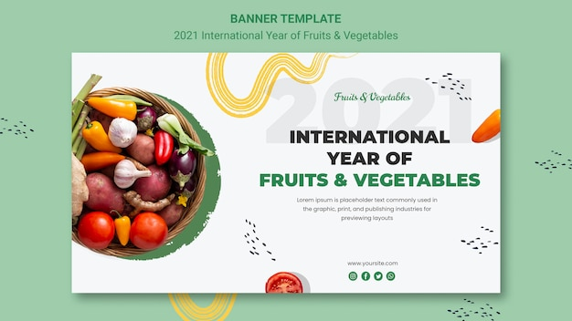 Modelo de banner do ano internacional de frutas e vegetais Psd grátis