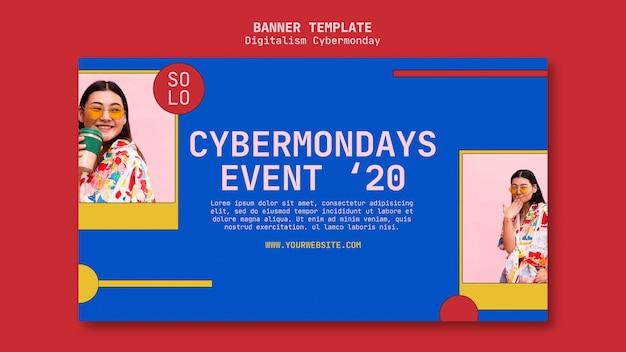 Modelo de banner do conceito de cyber monday Psd Premium