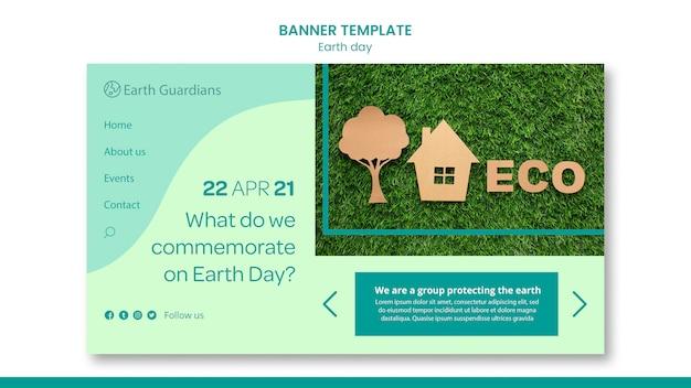 Modelo de banner do conceito do dia da terra Psd grátis