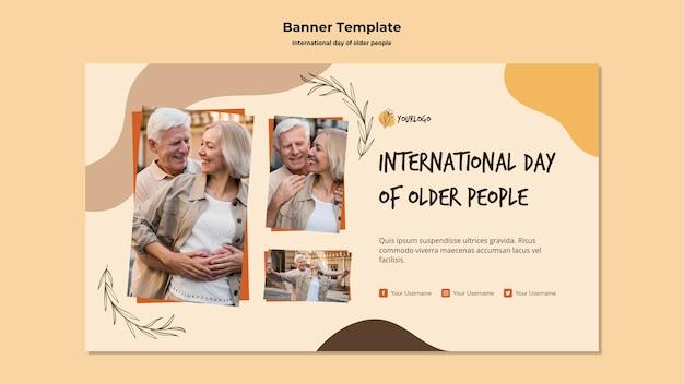 Modelo de banner do dia internacional dos idosos Psd grátis