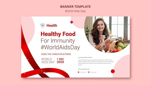 Modelo de banner do dia mundial da aids Psd grátis
