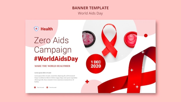 Modelo de banner do dia mundial da aids Psd Premium