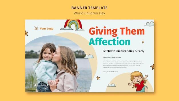 Modelo de banner do dia mundial da criança Psd grátis