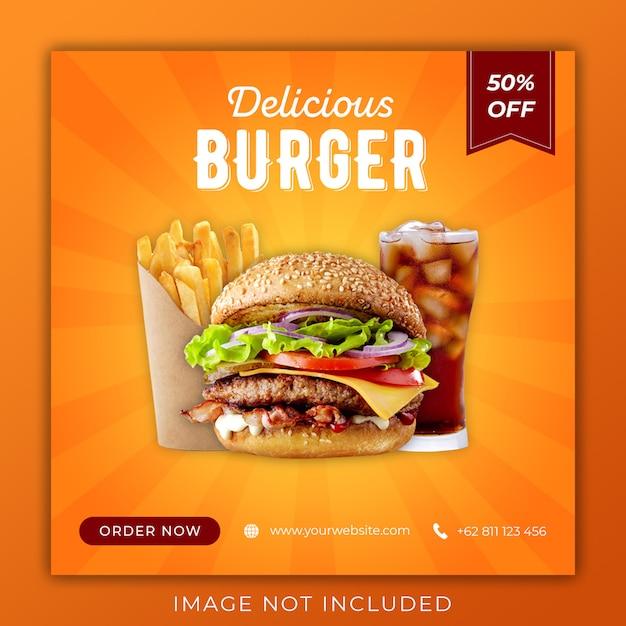 Modelo de banner do hamburguer promoção social media instagram post banner Psd Premium